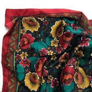 Vintage bright floral print square scarf